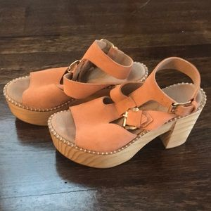 Free people leather and wood block heels